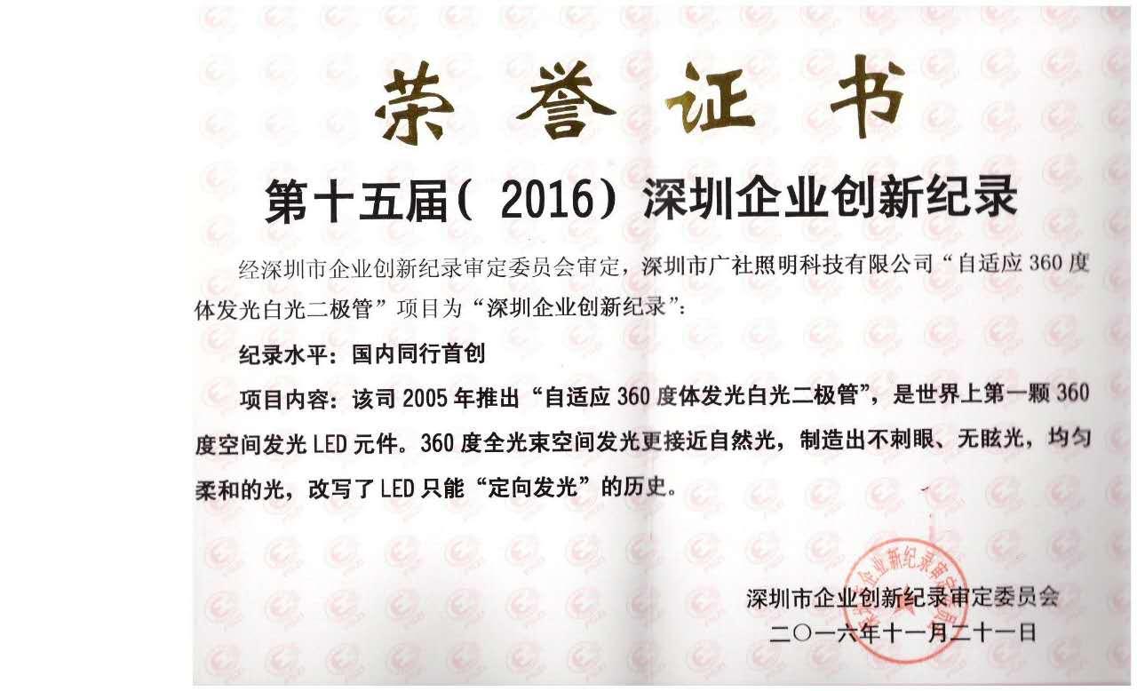 第十五届(2016)深圳企业创新纪录国内领先奖